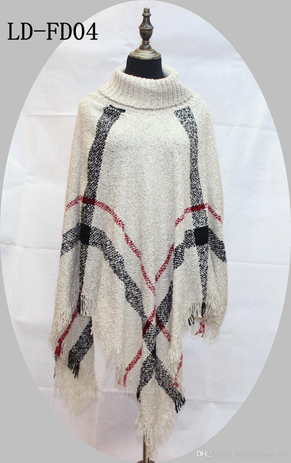 Poncho xadrez Mulheres Borla Blusa De Malha Casaco Camisola Do Vintage Wraps Malha Cachecóis Tartan Inverno Cape Grid Xaile Cardigan Manto OOA2903