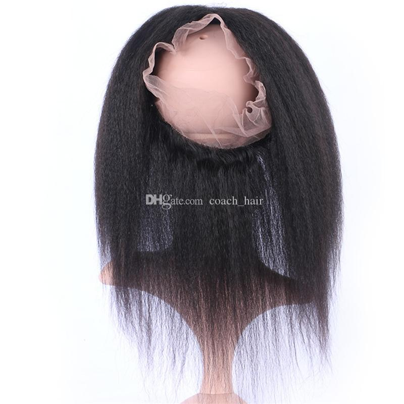 Virgin Mongolian 360 Lace Frontal Closure Free Part 360 Full Lace Band Frontal Ear To Ear Natural Hairline 130% Density