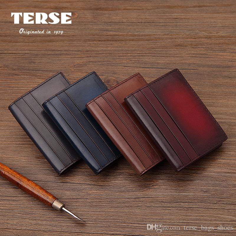 Terse_ Italy Cowhide Men Business Card Case Handmade Genuine Leather ...