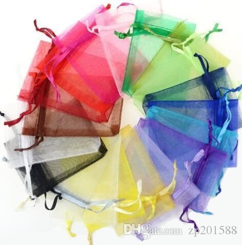 혼합 된 색상 여러 색상 9 * 7cm Organza 벨벳 보석 파우치 목걸이 팔찌 귀걸이 가방에 대 한 ackage 발렌타인 데이 선물 액세서리