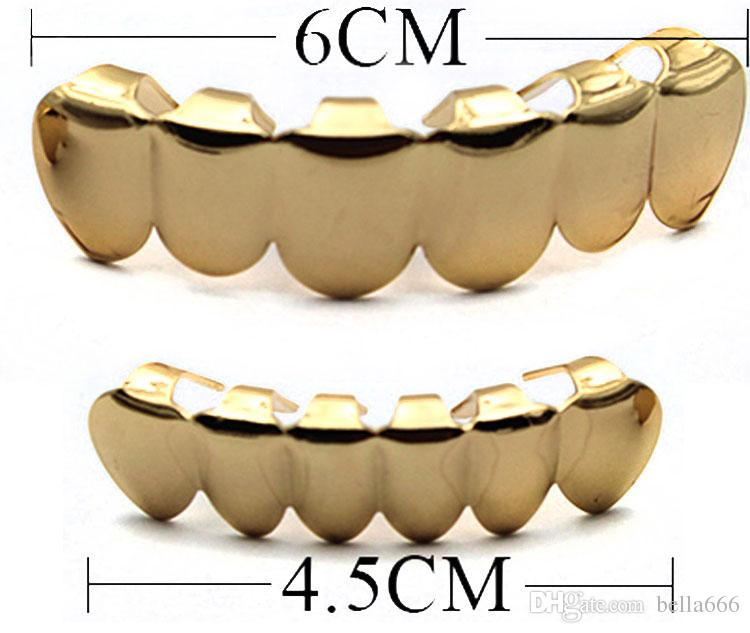 Fashion Jewelry Cheap Price Real 18K Gold Plated HIPHOP Teeth Grillz TOP or BOTTOM Single Grill Cap