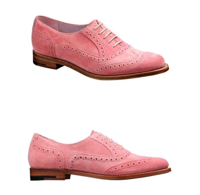 1b969f5e6 Compre Zapatos De Vestir De Caballero De Moda 2019 Mocasines De Cuero De  Ante Con Cordones De Punta Puntiaguda Para Hombre Zapatos De Fiesta De  Color Rosa ...