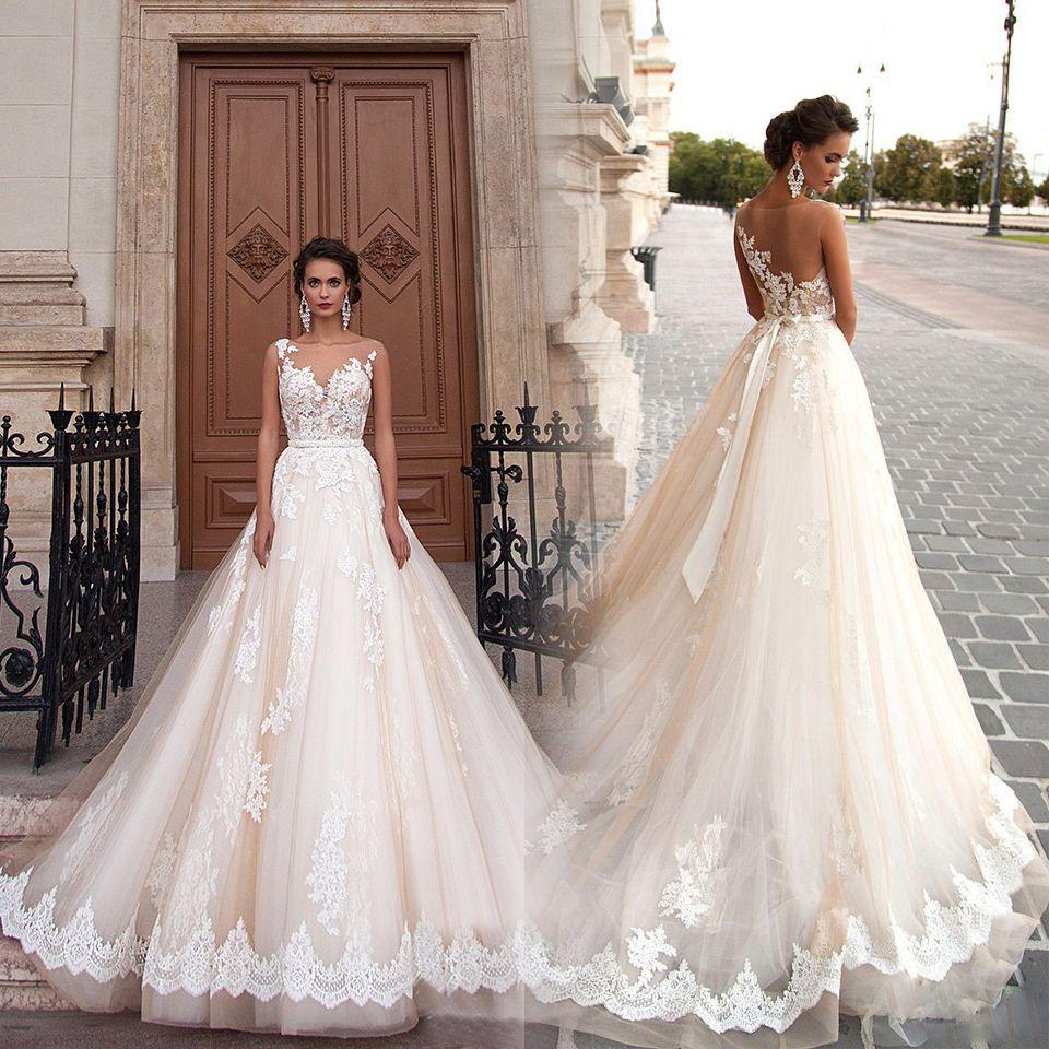 New Big Ball Gown Wedding Dresses Scoop Robe De Mariage Sheer Back ...