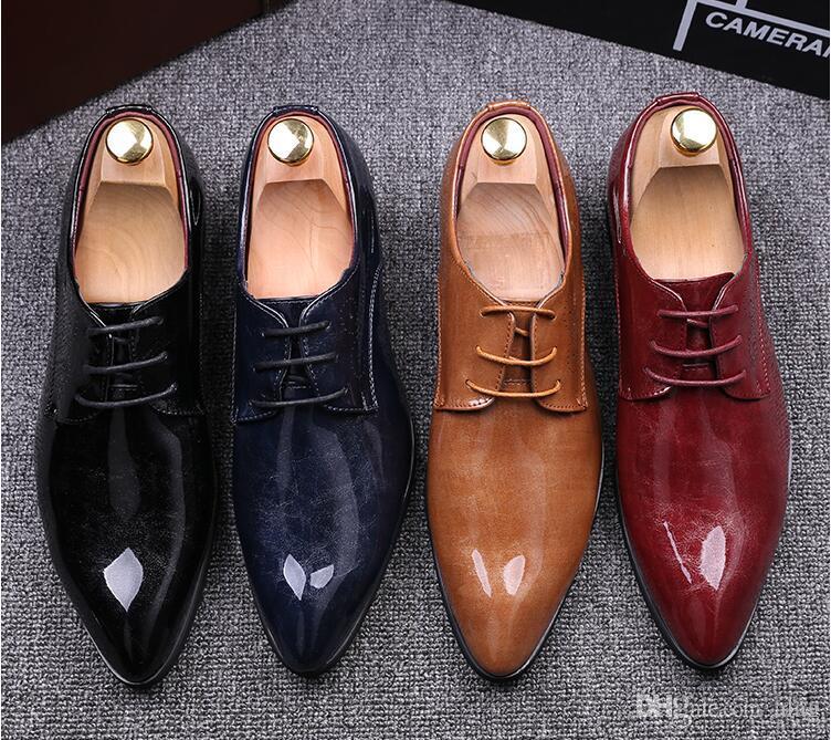 Men Dress Shoes 2019 DYANMIC Men's Pointed Toe Classic Fashion argento / rosso Business Oxford Scarpe comode scarpe Eur Taglia 38-45 AXX234