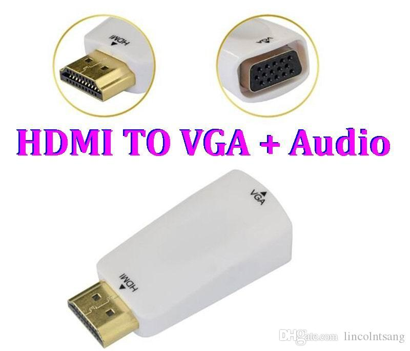 1080P HDMI Male to VGA Female Connector Adapter Converter with 3.5MM Jack Audio Sound Cable for HDTV TV DVD Xbox 360 Laptop Tablet