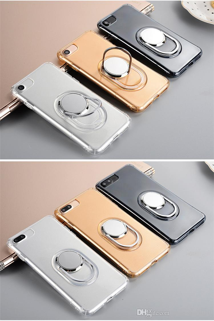 360 Degree Metal Kickstand Crystal Soft TPU Silicone Case For Iphone 7/Plus/6 6S Car Holder Stand Integrated Bracket Clear Phone Skin Cover