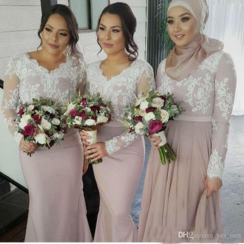 Vestidos de dama de honor 2017 para bodas Musulmanes con cuello en V Sirena Mangas largas Apliques de encaje blanco Tren de barrido Tallas grandes Vestido formal de dama de honor