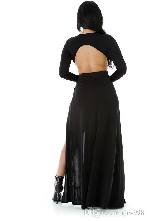 Vestido sexy sin espalda vestido de manga larga con cuello en v del vestido Nightclub envío gratis