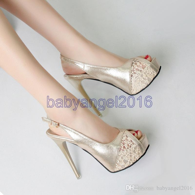 0b7e075ff34 2017 Romantic Lace Sling Back Peep Toe Shoes High Heels Platform Pumps Gold  Silver 12cm Size 34 To 39 Mens Shoes Loafers From Babyangel2016