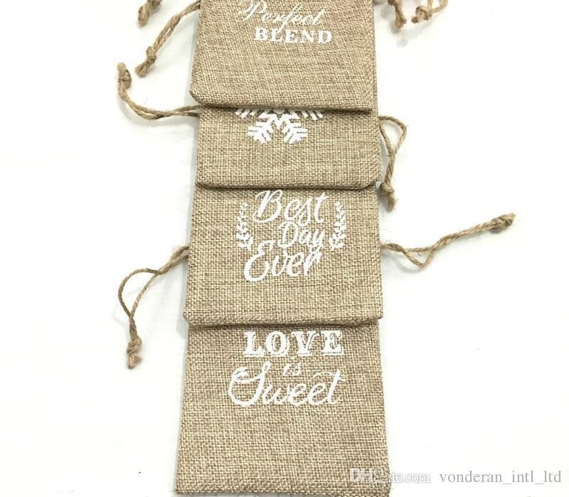 10 * 15см высоких доставленная натурального лен шнурок мешок джут мешки мешковина мешок пакет мешки подарок венчание конфета мешки