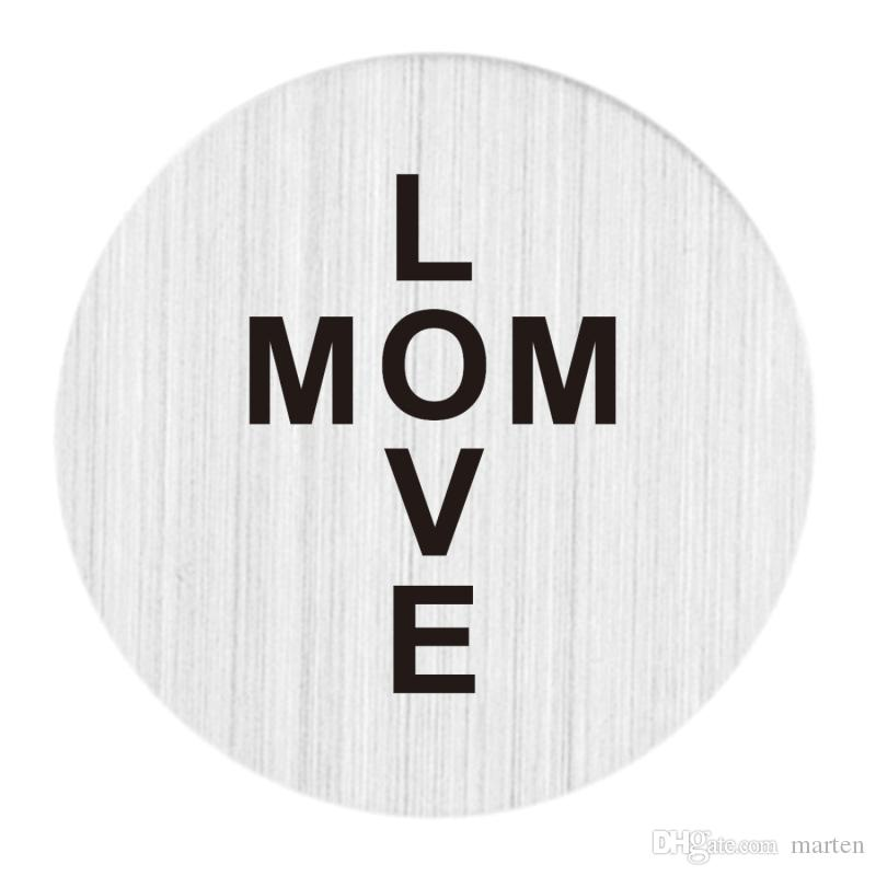 22mm Brushed Stainless Steel Large Floating Living Memory Charm Locket Necklace Message Backplate Jewelry - LOVE MOM