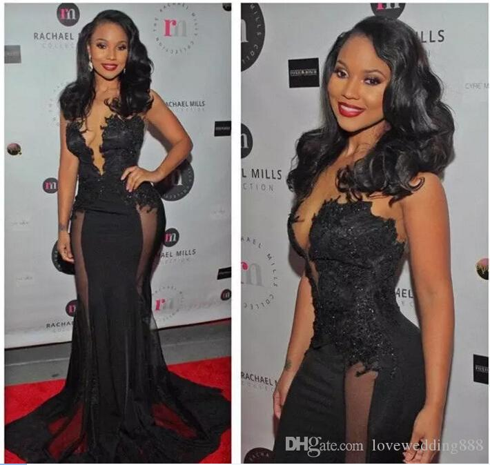 African Black Sexy Plunge V Neck Long Prom Dresses 2017 Applique Lace Sheer Cut Out Side Sweep Train Evening Gowns Formal Celebrity Dress