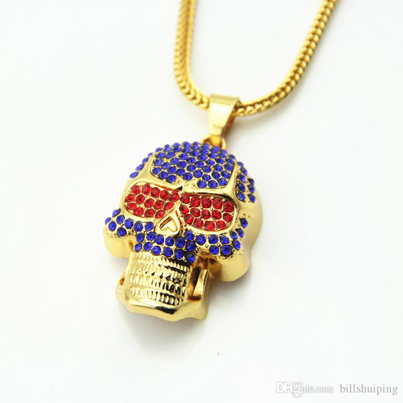 Wholesale hot sale new fashion crystal skull pendant necklaces punk wholesale hot sale new fashion crystal skull pendant necklaces punk style hip hop jewelry gold plated chain necklace diamond pendants necklaces round mozeypictures Images
