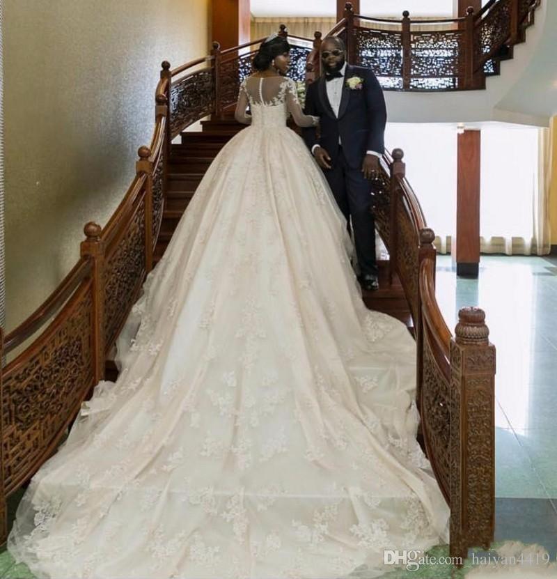 Ucuz Arapça Hat Düğün Elbise Mücevher Boyun Illusion Uzun Kollu Tam Dantel Boncuk Düğün Şapel Tren Plus Size Biçimsel Gelin Giydirme