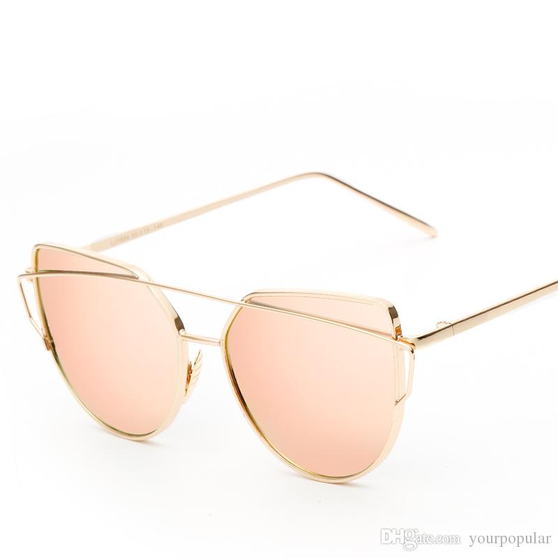 77dd6056bf New Cat Eye Sunglasses Women Vintage Trendy Rose Gold Mirror Sun ...