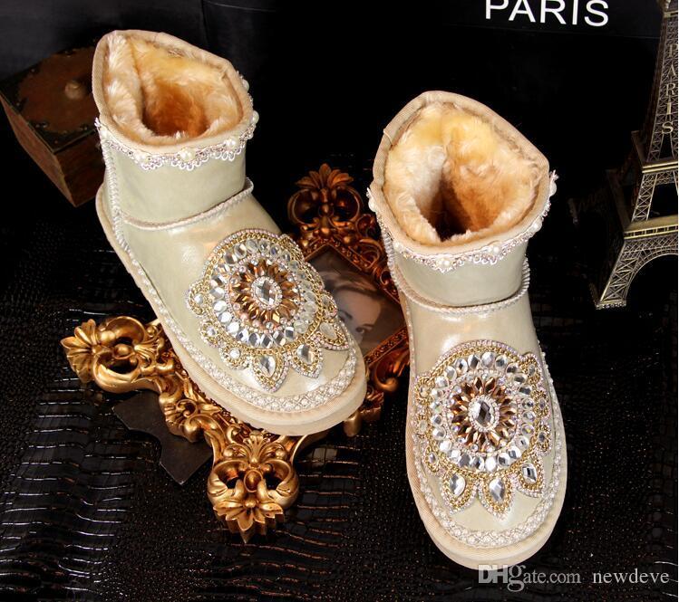Vintage Rhinestone Bling Bling Gelin Ayakkabıları Düğün Ayakkabı Kadınlar Için Dantel Ayak Bileği Uzunluğu Çizmeler Kış Sıcak Giymek
