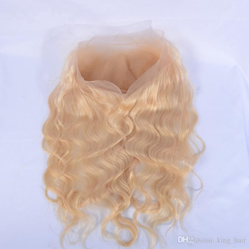 Bionda # 613 Bundles di capelli dell'onda del corpo con 360 fascia frontale del merletto Chiusure brasiliane dei capelli del Virgin con l'orecchio all'orecchio 360 frontale