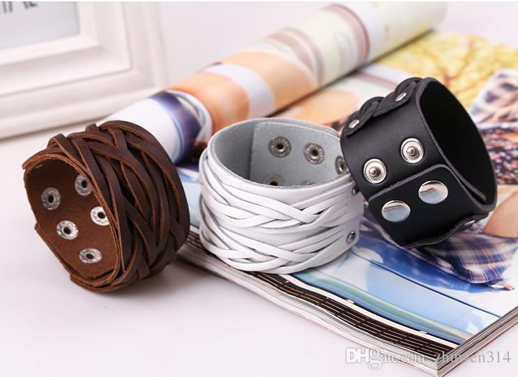 Leder Manschette Double Wide Armband und Seil Bangles Brown für Männer Mode Mann Armband Unisex Schmuck