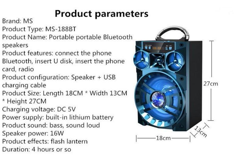 Altoparlante Bluetooth MS-188BT Altoparlante Hi-Fi Amplificatore basso senza fili Subwoofer Music Box con USB Luce FM TF Radio MIS137