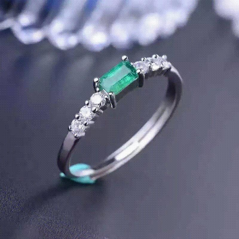 gold and in over ring zirconia halo cubic emerald silver p white jewellery plated amp