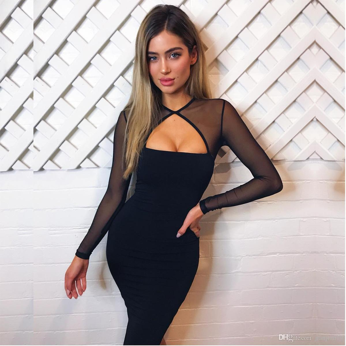 a277a18061 7728 Black Long Sleeve Autumn And Winter Sexy Perspective Gauze Split Joint  Catch Dress Chiffon Dress Stitching Dress Perspective Dress Online with ...