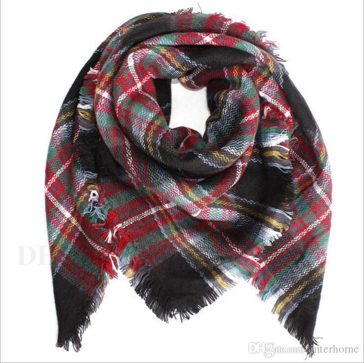Baby Scarf Plaid Blanket Scarves Tartan Wraps Toddler Fashion Neckerchief Striped Tassels Shawl Kids Winter Ring Muffler Accessories H666