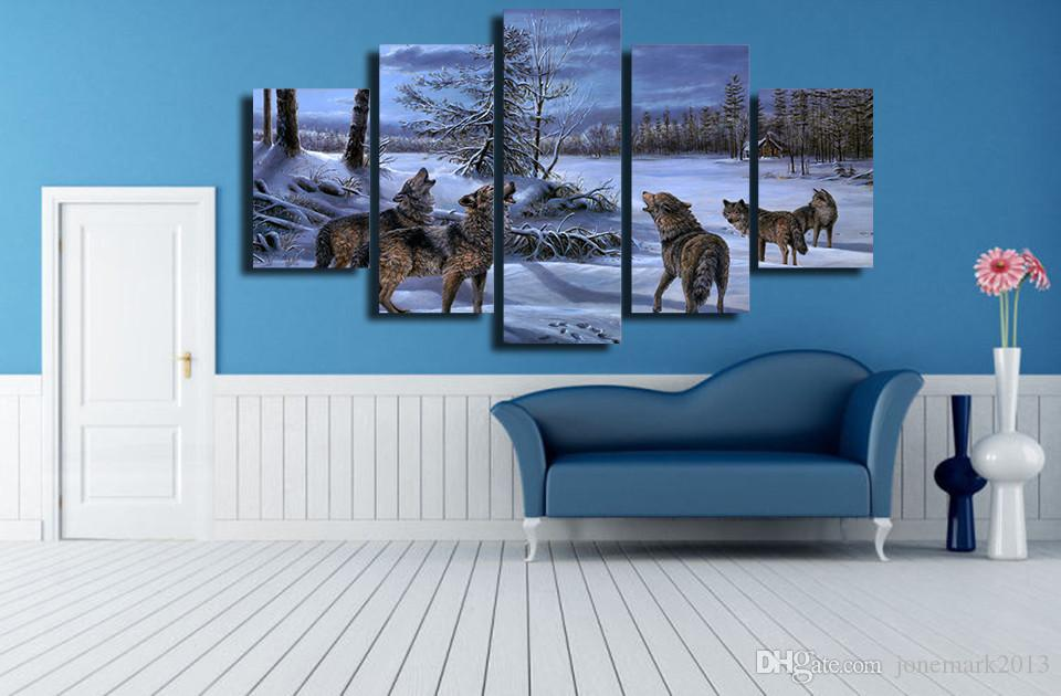 Framed HD Printed Winter Snow Wolf Picture Wall Art Canvas Print Decor Poster Canvas Oil Painting