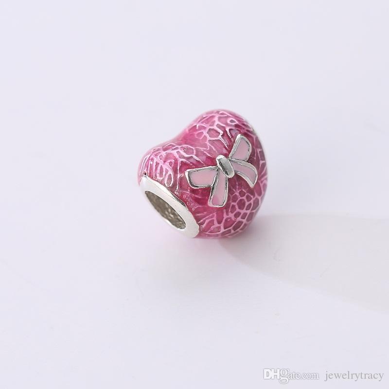 Pink Ribbon Anti-cancer Beads Heart Shape Fits Pandora Snake Bracelets Necklaces Charm DIY Charm