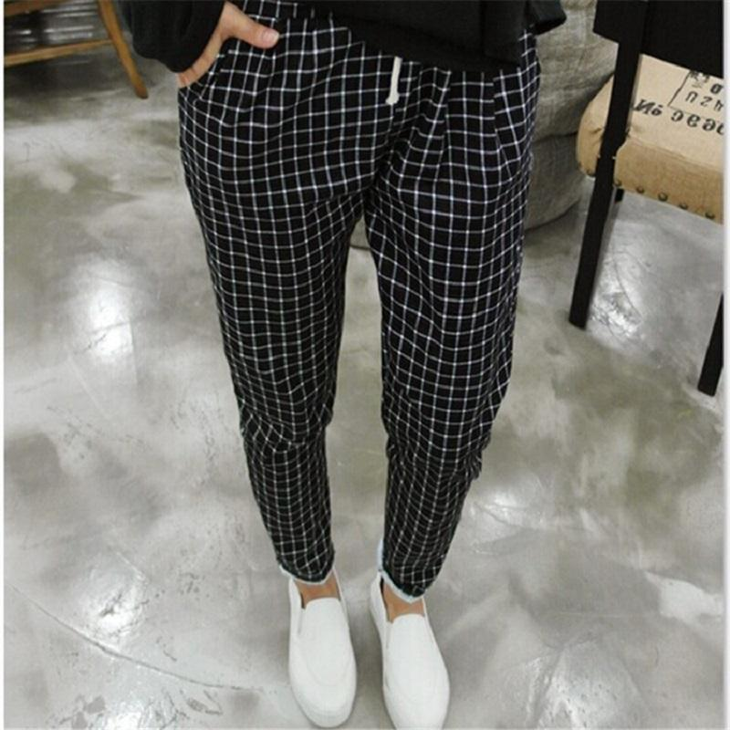 cc7660854f4 2019 2016 New Spring Casual Loose Cotton Harem Pants Plus Size Plaid Capris  Grid Black Pockets Lady Trousers Spring Loose Harem Pants From Havory