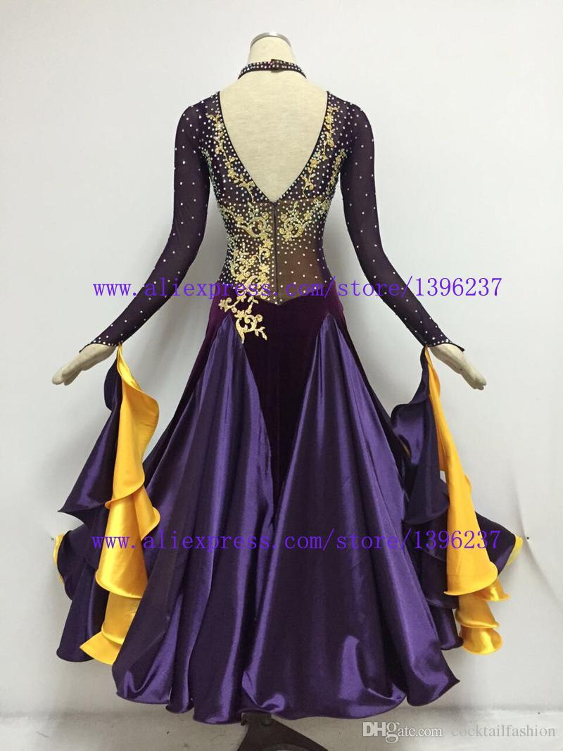 7ca065989d441 2019 Ballroom Dance Dress High Quelity Class Stone Ballroom Costume Purple  Waltz Tango Flamenco Dancing Dresses From Cocktailfashion, $320.61 |  DHgate.Com