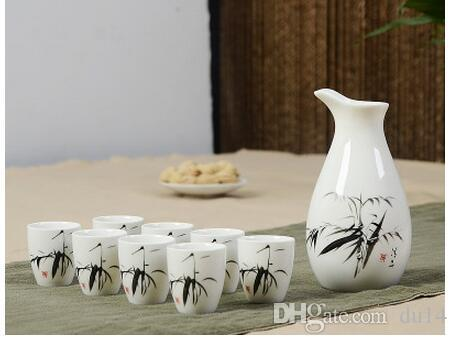 ceramic wine set suits Yellow rice decanters pot hot warm hip flask white rice Small winedecorations men wedding gift crafts