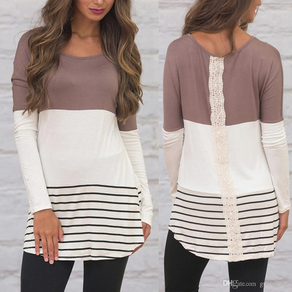 موضة جديدة وصول المرأة ملابس سيدة س الرقبة طويلة الأكمام التباين اللون مخطط الرباط المرقعة تونك القمم أنثى القميص