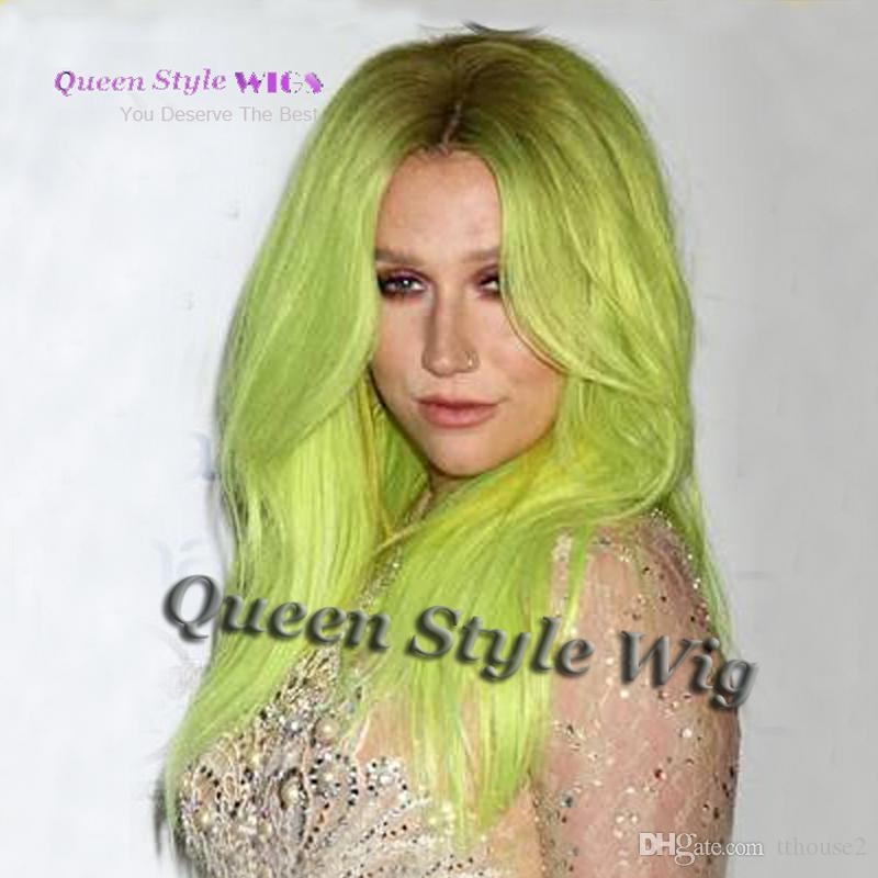 Mermaid Cosplay Hairstyle Wig Synthetic Dark Root Ombre Pastel Fluorescent Green Color Hair Wig Synthetic No Lace/Lace Front Wig