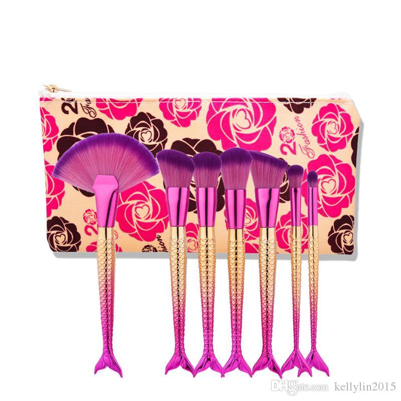 Mermaid Makeup Brushes Sets for Foundation Powder Contour Eyeshadow Brush Cosmetics Multipurpose Rainbow Make up Brushes Kit with Bag