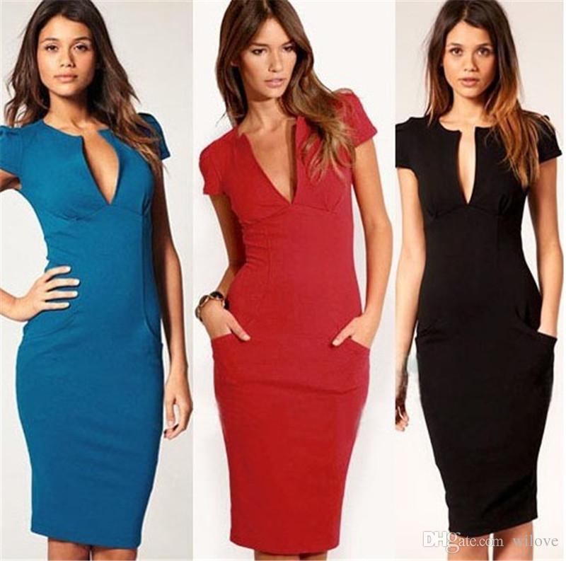 Kadın Yaz Zarif Bayanlar Seksi Balo Ofis Elbiseler V Yaka Moda Ünlü Kalem Çalışma Cep Parti Ince Bodycon OL Elbise