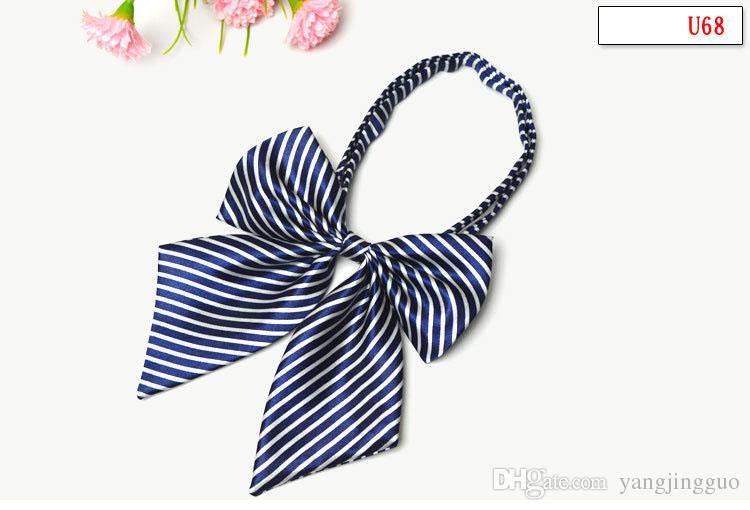 Women's professional school uniform bow tie student performance bow hotel stewardess striped floral print lead free delivery