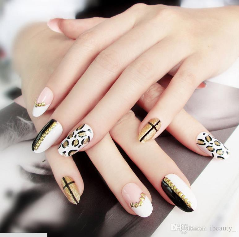 Trend Leopard False Nails Japanese Nail Fake Nail Tablets 24 Boxed ...