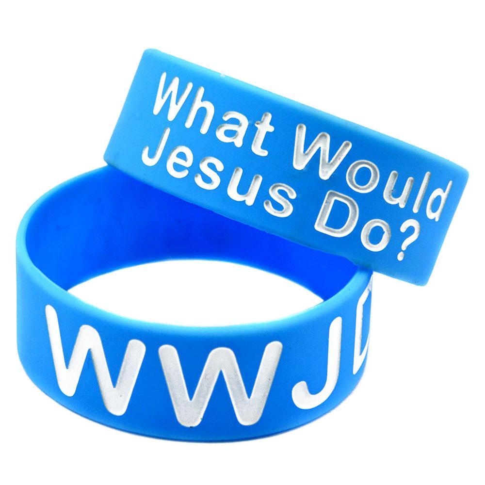 예수께서는 1 인치 넓은 실리콘 팔찌 종교적 믿음 보석 성인 크기 파란색으로 무엇을 할 것입니까?