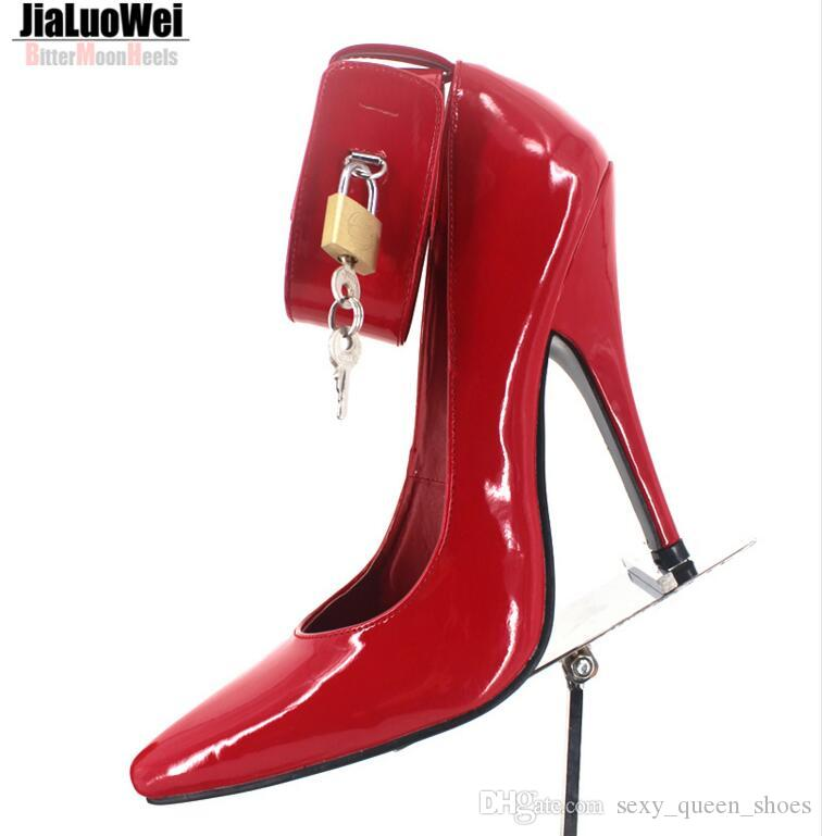 44df00a9c0b 2019 BDSM Sexy Women Fetish High Heeled Pumps Lock Key High Heels Pointed  Toes Ankle Strap Padlocks Single Shoes Big size Free Ship