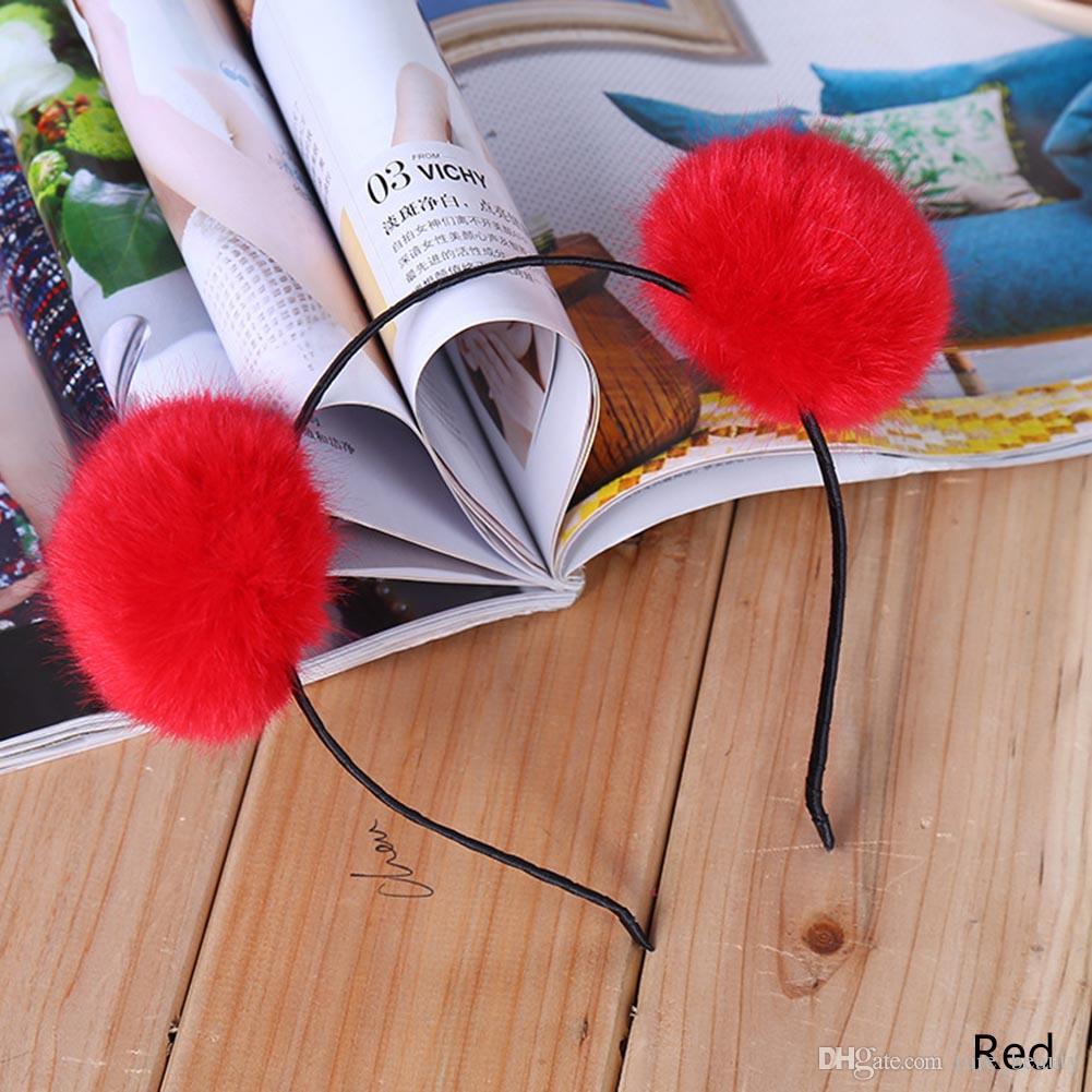 Горячие продажи сладкие девушки милый кролик плюшевые большие волосы мяч оголовье обруч кошка уши Hairband тиара аксессуары для волос для детей Xmas подарок 20 шт./