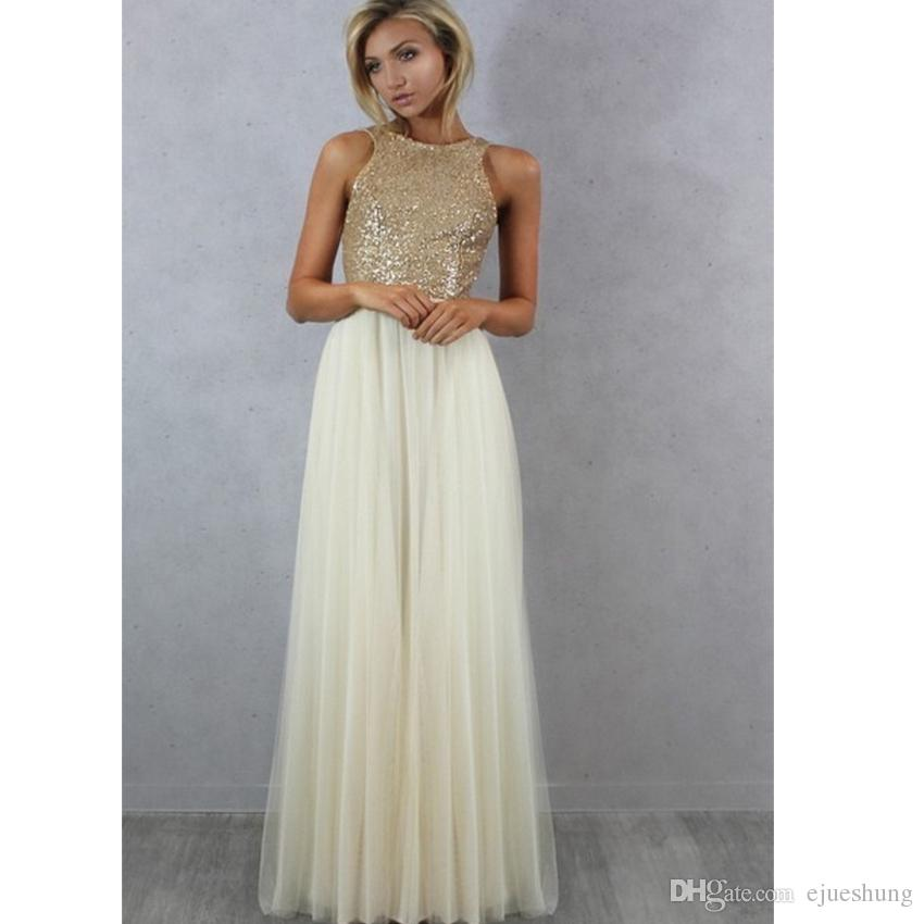 Champagne Gold Sequin Long Bridesmaid Dresses Ivory Tulle A Line