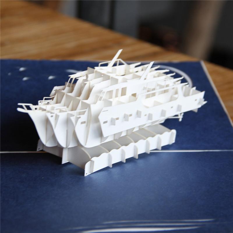 Laser Cut Wedding Invitations Handmade 3d Yacht Pop Up Greeting Card