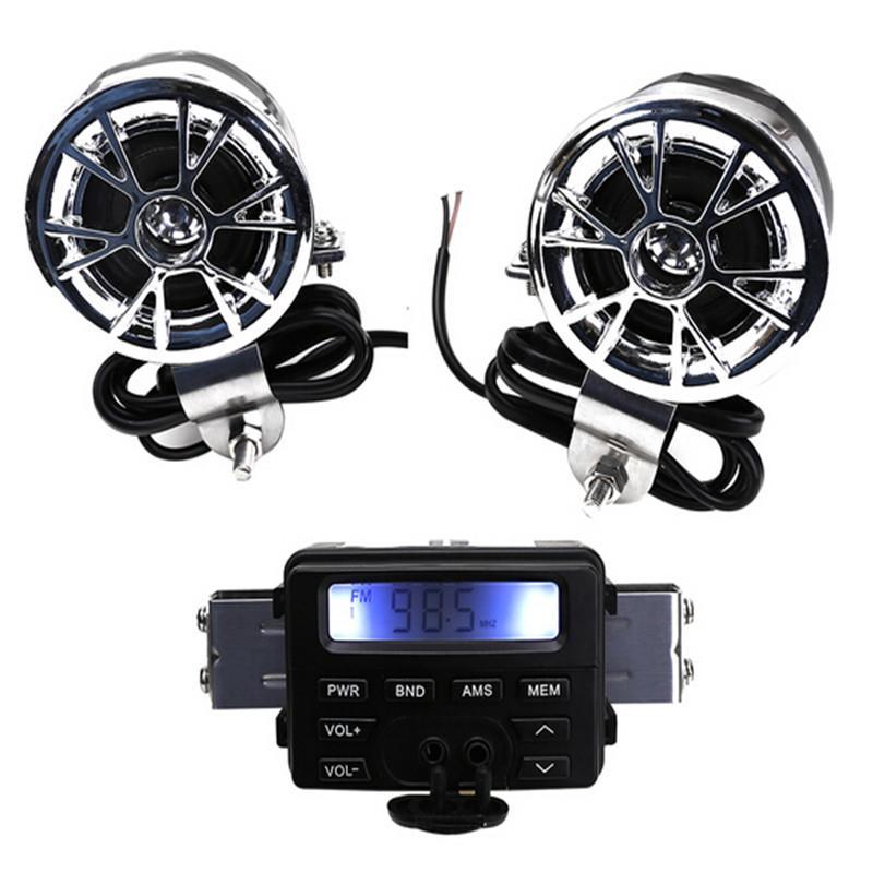 LED FM 오토바이 라디오 / Mp3 스피커 오디오 플레이어 스테레오 + 2 스피커 방수 오토바이 액세서리