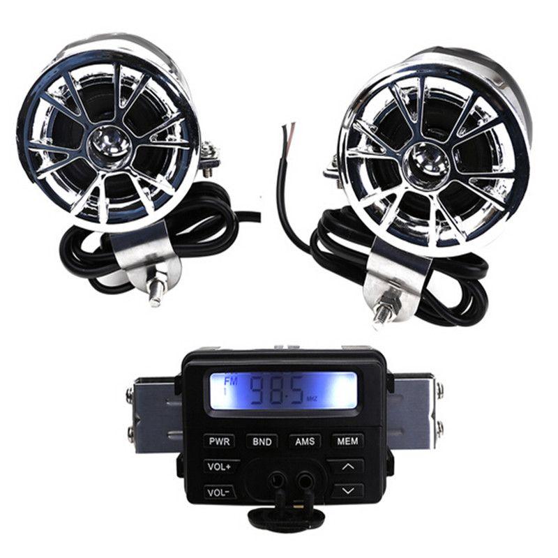 LED Radio FM para motocicleta / Mp3 Altavoz Reproductor de audio Estéreo + 2 Altavoces Accesorios de motocicleta a prueba de agua