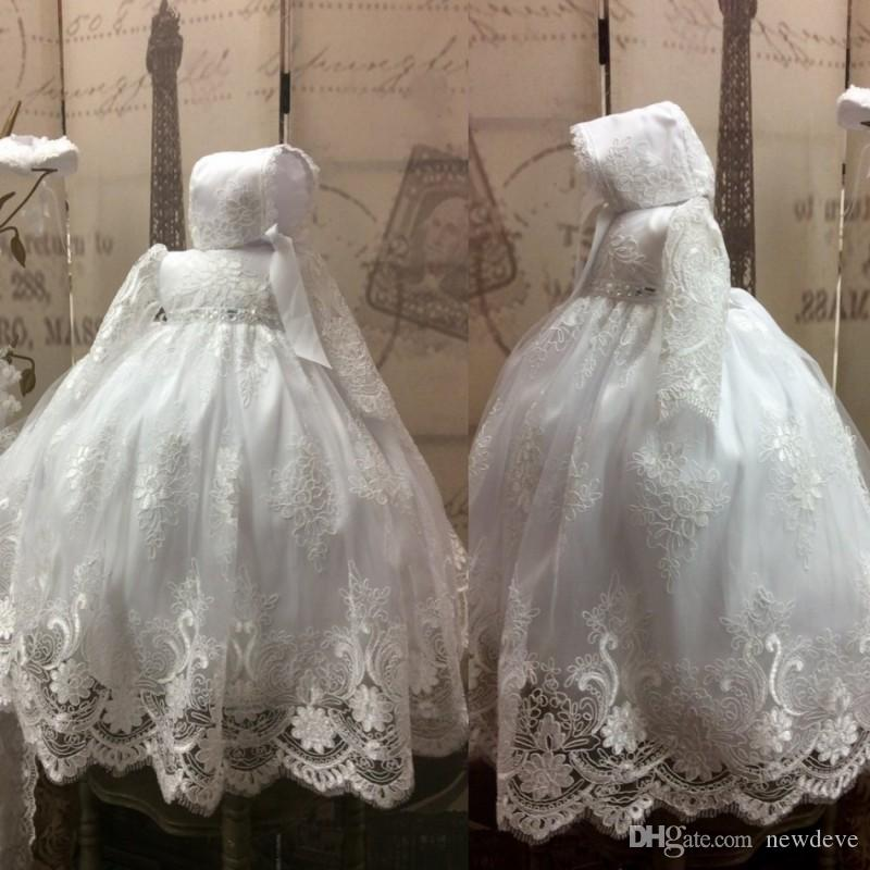 289e0e554e5 Lace Ball Gown Baby Christening Dress White Baptism Outfits With Long  Sleeves Formal Infant Girl First Communion With Bonnet Cheap Bridesmaid  Dresses ...