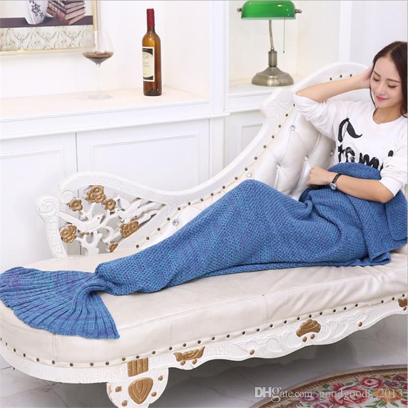 Coperture della coda della sirena dell'adulto Sacchi a pelo della coda della sirena Materasso del bozzolo Coperte del sofà del knit Handmade Soggiorno Sacco a pelo 180X90cm K481