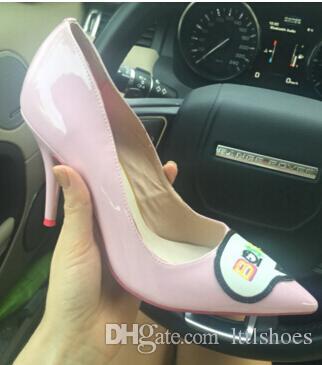 Rosa Bombas Mulher Sapatos Stiletto saltos altos Apontou toe Deslizamento em Sapatos Únicos Bombas de Design Doce Senhoras De Couro Sapatos Mujer