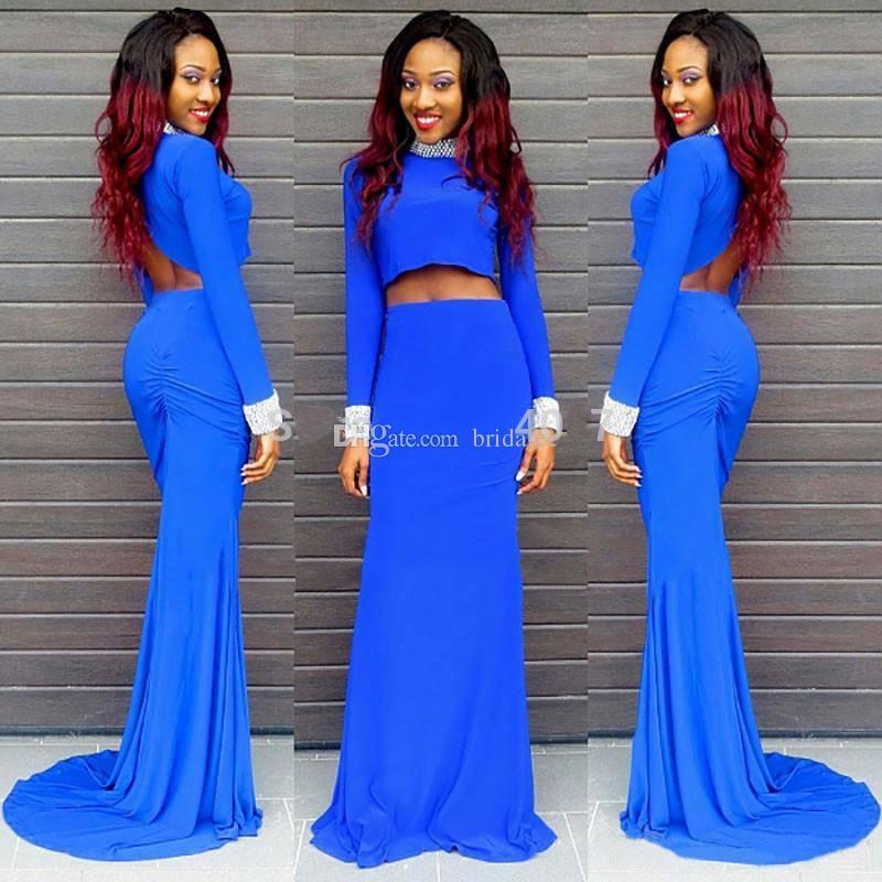 Royal blue jersey jewel neck maxi dress