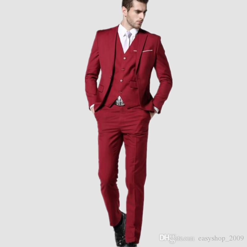 Men Suits New Fashion Clothing Latest Coat Pant Designs Three Piece Suit formal Slim Fit Suits Red Wedding Suits for Men