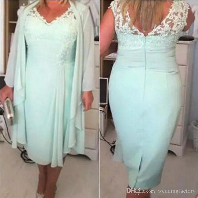 56e0bff8ee9 Modest Mint Green Mother Of The Bride Dresses With Jackets Chiffon Dress  Mother Of The Groom Knee Length V Neck Lace Appliques Mother Of The Bridge  Dresses ...